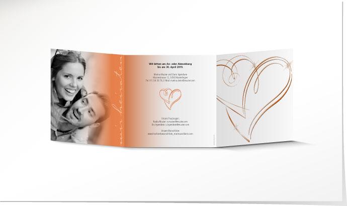 Hochzeitseinladung 631a Orange Mit Folienpragung Herz Schuch Verlag
