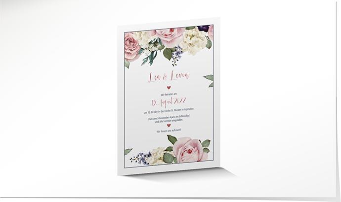 Hochzeitseinladung 807 Im Vintage Look Mit Blumen Schuch Verlag