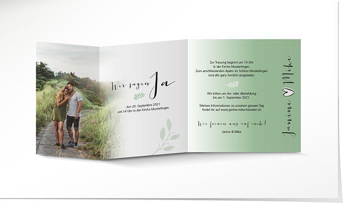 Hochzeitseinladung 860 Grun Mit Holz Optik Schuch Verlag